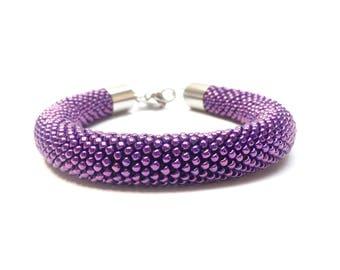 Purple beads Bracelet • Ultraviolet bracelet-bead crochet bracelet • Purple crochet bracelet • Valentine's Day gift