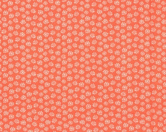 1 Yard - Tiny Daisy Floral Print on CORAL Print - Cotton Fabric - by the yard