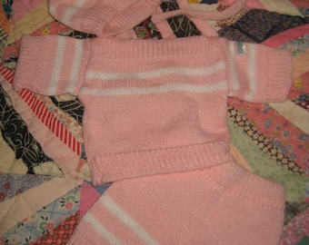 Cabbage Patch Kid Clothing/Outfit Pink and White Knit Set with Bonnet