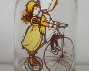 "Vintage Holly Hobbie 16oz Drinking Glass says ""Friendship Makes the Rough Road Smooth"""