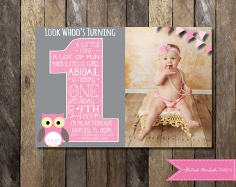 Owl invitation etsy owl first birthday invitation with picture owl birthday invitation printable invitation owl invitation pink owl invite with picture filmwisefo