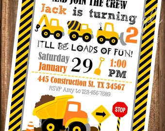 Construction Invitations, PRINTABLE Construction Invitations, Dump Truck Invites, Digital Invitations, Printable Dump Truck Invitations