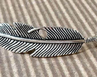 Feather Bracelet Connector Silver Curved Pewter Jewelry Supply
