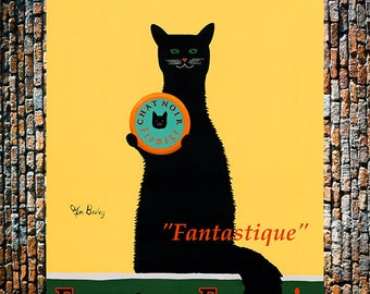 Chat Noir Vintage Ad, Black Cat Art, Vintage Animal Art, Vintage Liquor Ad, Vintage Ad,  Vintage Art Giclee Art Print, Fine Art Reproduction