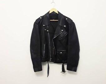 1970s Black Leather Motorcycle Jacket