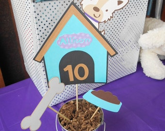 Dog Theme Centerpiece, Dog House, Birthday Party, Baby Shower, Table Decor, Cake Topper, Party Supplies