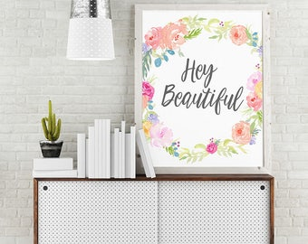 Hey Beautiful, Word Art On Canvas, Custom Typography, Personalized Gift, Dorm Wall Art, Quote Prints, Home Decor, Apartment Decor