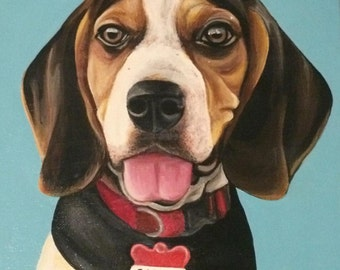Square Custom Pet Portrait Acrylic Painting