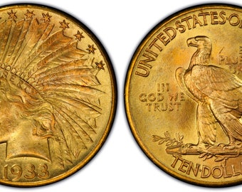 1933 Indian head 10 gold coin replica with free case coin