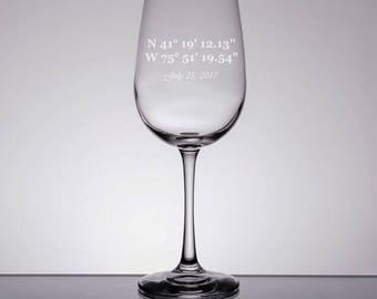 Wedding Coordinates Wine Glass, Engraved Coordinates, Wedding Wine Glasses, Custom Wedding Glasses, Mr and Mrs, Bridesmaids