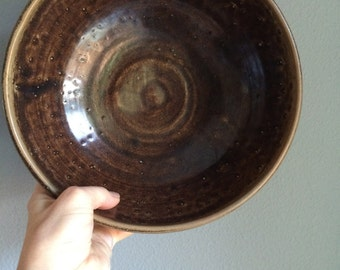 vintage, gorgeous brown pottery bowl, hand made
