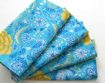 Cloth Napkins - Set of 4 - Turquoise Blue Yellow Flowers - Large Dinner Napkins, Table Napkins, Everyday Napkins