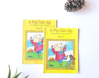 Set of 2 Vintage Reading Books: A Pig Can Jig Part 1 and Part 2 SRA Basic Reading Series Level A Preschool Kindergarten 1st grade reader