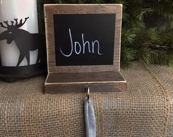 Rustic Chalkboard Stocking Hanger- Customizable