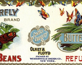 Original vintage Tin Can label 1920s Embossed Butterfly Refugee Beans Westernville Oneida Co New York