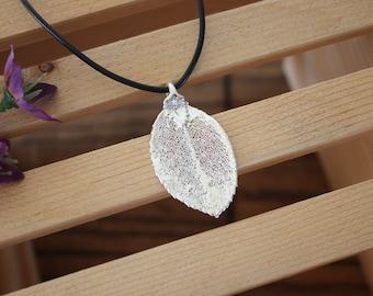 SALE Leaf Necklace, Silver Rose Leaf, Real Leaf Necklace,Silver Rose Leaf Pendant, SALE63