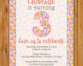 Sprinkles Birthday Party Kids Invitation for Little Girl toddler invite Sweets Any Age Printable 5x7 Digital JPG File (527)