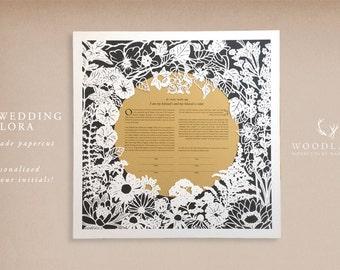 Our Wedding Flora handmade papercut ketubah | wedding vows | anniversary gift