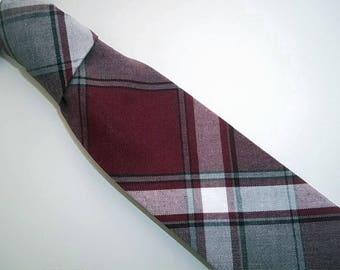Burgundy Grey Plaid Necktie-Burgundy Grey Plaid Tie-Burgundy Plaid Tie-Grey Plaid Tie-Maroon Grey Plaid Tie-Burgundy Tie-Wedding Tie-Boy's