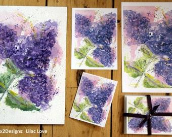 Original PRINT of Lilac Love Painting, Lilac Love  Painting, Watercolor Lilacs , Lilacs  Wall Hanging
