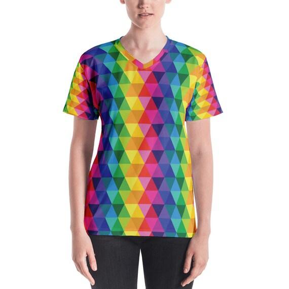 Colorful Women's V-neck Rainbow Tshirt
