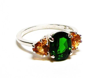 "Chrome diopside, chrome accent ring, chrome and citrine ring, 3 stone ring anniversary ring  green gold, s 6 1/2   ""Wild Flowers"""