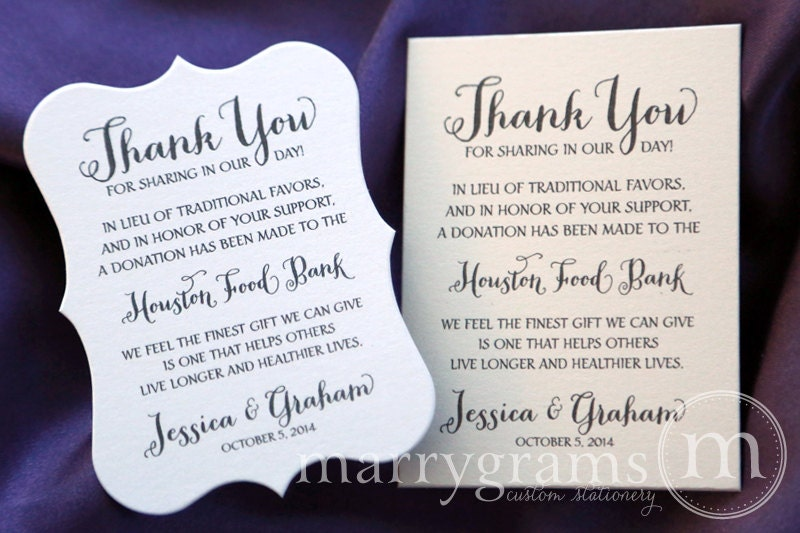 In lieu of favors wedding favor donation cards reception zoom stopboris Image collections