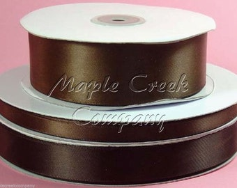 1/4 inch x 100 yards of Brown Double Face Satin Ribbon