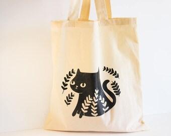 Chat noir cabas / sac fourre-tout de chat / chat noir sac à main fourre-tout mignon / Cat sac / sacs fourre-tout de chat / chat mignon sac cabas / Kitty sac fourre-tout / Cat sac de marché