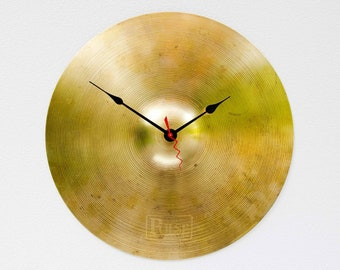Recycled Drum Cymbal Clock, percussion clock, AC/DC, rock n roll clock,