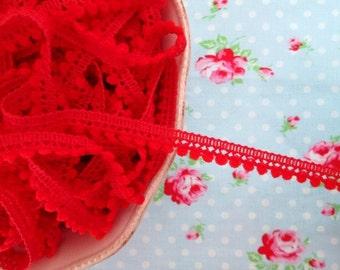 Mini Pom Pom Trim - Very Cherry Red - Ball Fringe - 1 Yard