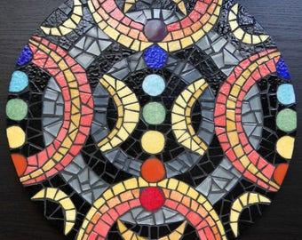 Round chakras mosaic wall art, crescent moon colorful mosaic