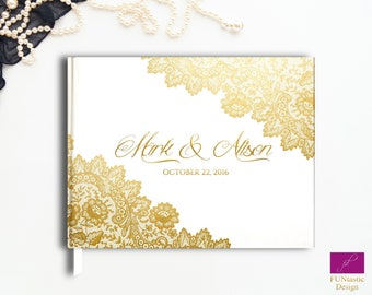 Wedding Guest book, Gold Foil Guest Book, Real Gold Foil Guestbook, Rose Gold Guestbook, Gold Lace Guestbook, Gold Lace Wedding Guest book