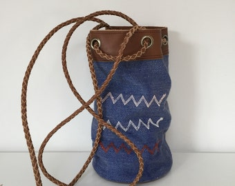 Leather handmade bukcet bag with Moroccan Sabra fabric