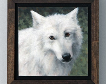 Arctic Wolf Painting Original Art Oil Painting Framed Wall Art by Sarah Becktel