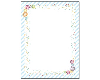 Fun Modern Border Stationery -  Letterhead -8.5 x 11 inches - 60 Paper Sheets - B6502
