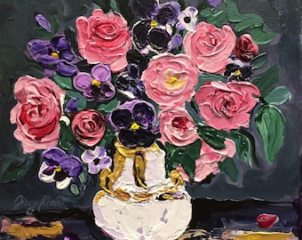 Floral Painting Acrylic,Roses Pansies,Still Life,Vibrant Colors,Impasto, Palette Knife Painting, Highly Textured, Original Art, Sissy Altom