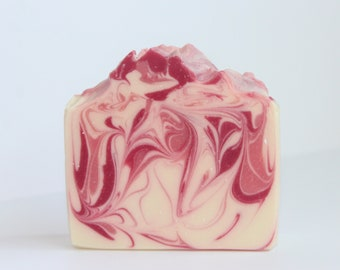 Wild Rose swirl cold process soap