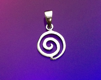 925 Solid Sterling Silver SWIRL  Pendant/ Circle Swirl Pendant/ Polished Swirl Pendant/ Silver Swirl