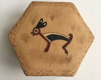 Vintage Leather Jewelry Box with Hand Painted Native American Symbol of a Rabbit... Or maybe it's a Deer?!