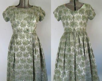 Mid Century Party Dress 1950s Satin Brocade