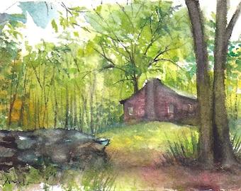 mini painting May 2017 no.29, original watercolor painting by Sumiyo Toribe