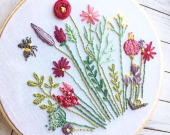 Garden Embroidered Hoop Art