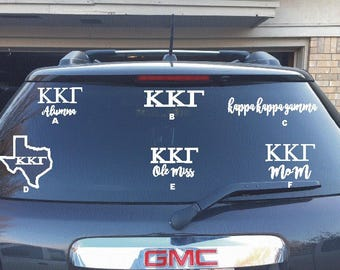 Kappa Kappa Gamma Decal - MOM, Alumnae, College Name, State
