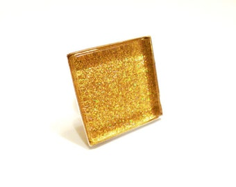 Glass Tile, Glitter Ring, Glass Tile Ring, Yellow Ring, Yellow Glitter, Statement Ring, Accessories, Women