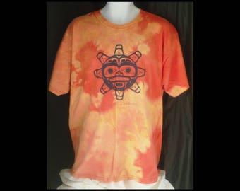 Acid washed XL shirt Haida artwork vintage Native Origins tee Vancouver Canada bleached t-shirt acid wash orange red yellow (shirt no. 129)