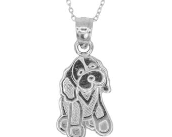 10k White Gold Dog Necklace with Gold Chain, Animal Jewelry Pet Gift for Men or Women, I Love My Dog Pendant Gold