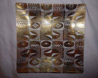 Vintage Georges Briard Gold Fern Design Dish