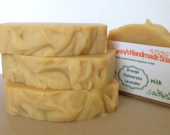 Orange Palmarosa Lavender Handmade Soap with Goat Milk - Scented With Essential Oils - Mild Soap with Refreshing Scent
