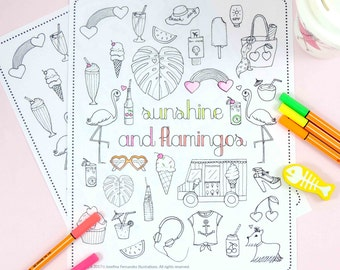"Printable coloring page ""Sunshine&flamingos"",adult coloring page,printable colouring page,coloring pages for adults,adult coloring download"